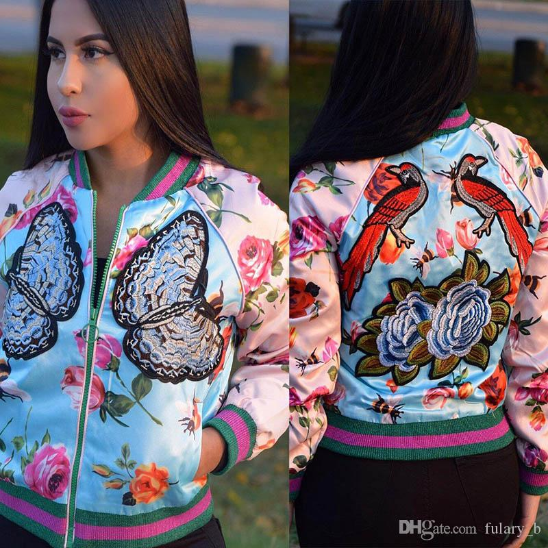 Spring autumn women jacket Sexy Digital Print Floral Small Jacket Pink blue embroidery coat Youthful beautiful wear