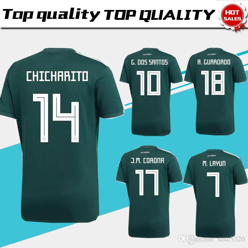 2018 Copa del Mundo Mexico home green Soccer Jersey Mexico home Camiseta de Futbol # 14 CHICHARITO # 22 H.LOZANO M.LAYUN football Uniform Venta Size S-3XL