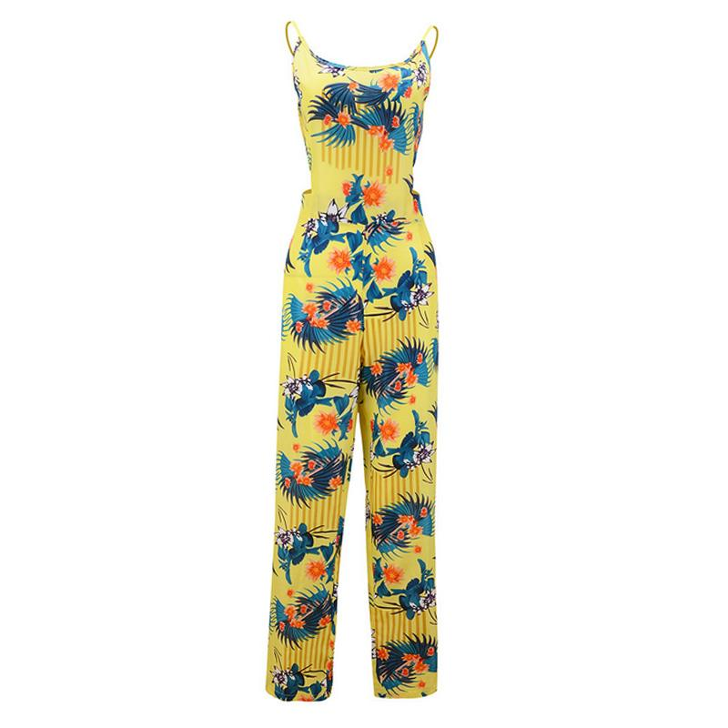 Neu Sommer Frauen Sexy Overalls Bowknot Blume Printed Backless Lässige Strap Strampler