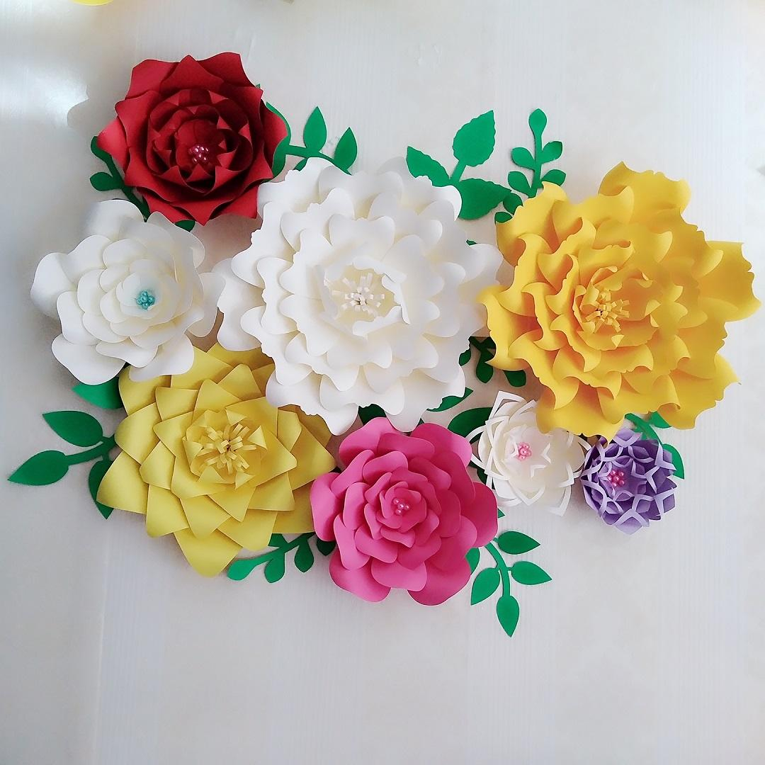 Best Giant Paper Flowers Leaves Wedding Backdrop Photography Bridal