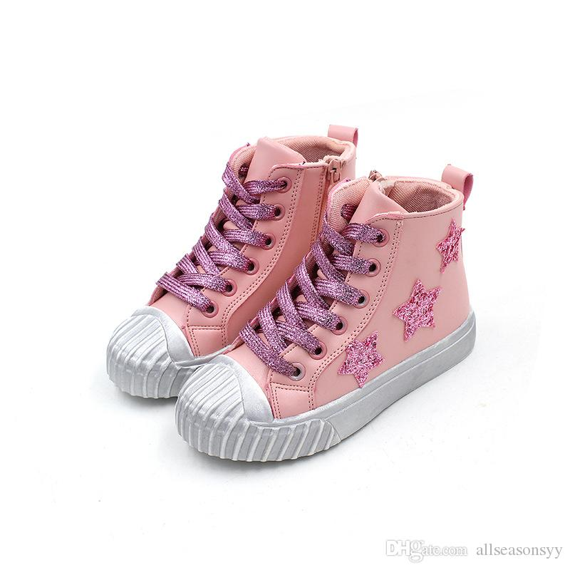 8f10e5ef197e Casual Sequins Star Children Baby Girl Boy Shoes High Tops Leather ...