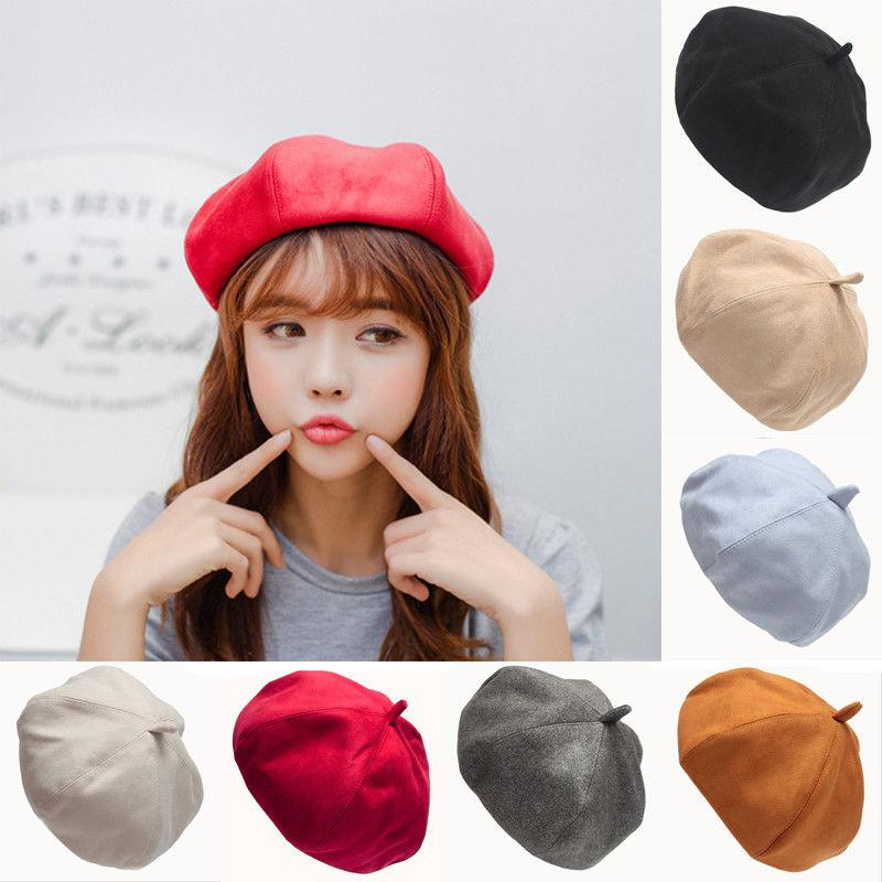 64c768e295e 2019 Women Sweet Warm Wool Solid Winter Beret Hat Cap French Artist Beanie  Hat Ski Cap From Winwin2013