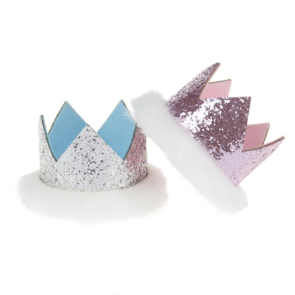 Sequins Princess Crown Party Hats Children Glitter Birthday Headband Baby Shower Pretty Decorative Fluff Cap Kids Souvenirs Ladybug Supplies Led