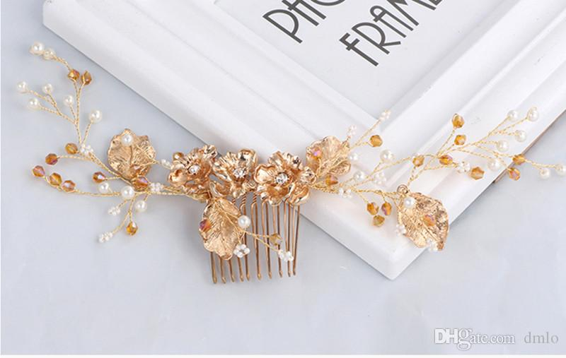 Elegant Headdress Bridal Wedding Hair Combs for Bride Crystal Pearls Women Hairpins Gold Bridal Headpiece Fashion Hair Jewelry Accessories