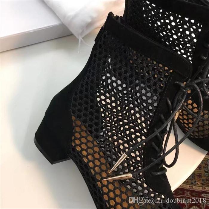 Summer Spring 2018 New Silver Fishnet bandage Martin boots Women's square toe chunky heel Knight Boots lace-up partwork ankle boots