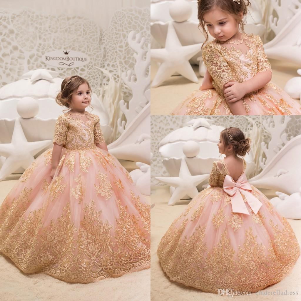 d1509bd7 Cute 2019 Gold Lace Flower Girl Dresses For Weddings Tulle Ball Gowns Baby  Girl Communion Dresses Children Kids Pageant Party Gowns Flower Girl  Headbands ...