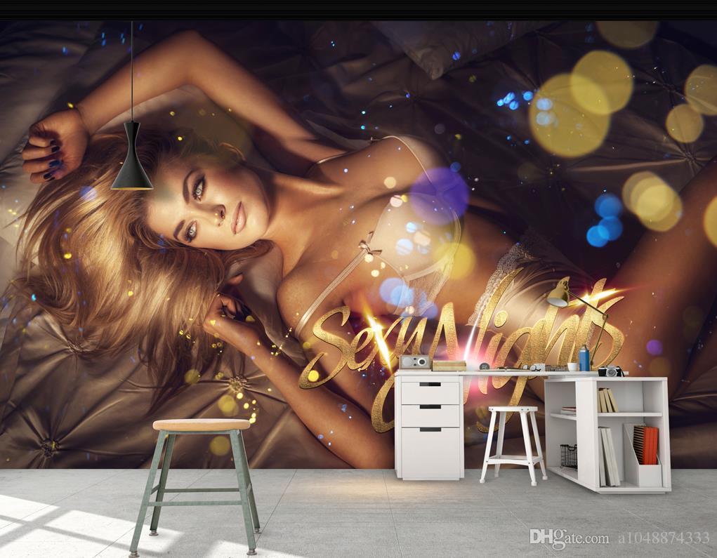 Wholesale-murals-3d wallpapers home decor Photo background wallpaper Sexy Beauty Hotel Night Club KTV Wall pepar