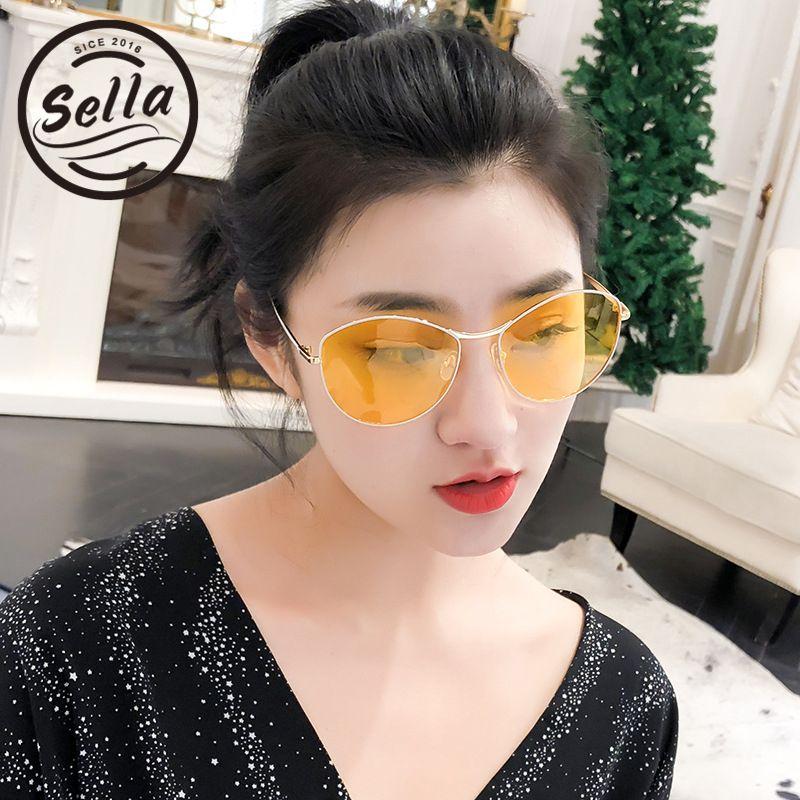 a517c30764 Sella Korean Style Fashion Women Colorful Tint Lens Retro Round Sunglasses  Sexy Ladies Summer Yellow Lens Oversized Sun Glasses Mirrored Sunglasses  Heart ...
