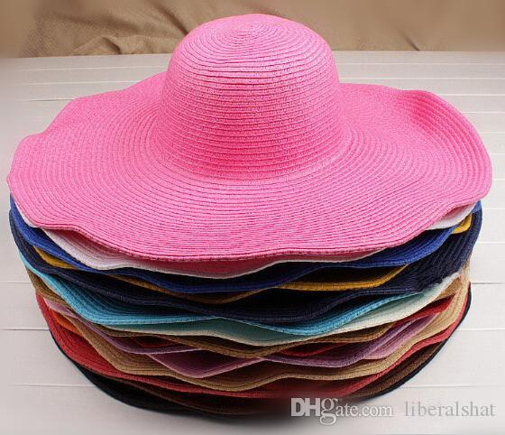 Wholesale Sun Hat Fashion Women S Floppy Hat Foldable Wide Large Brim  Floppy Bucket Summer Beach Sun Protection Straw Wide Brim Hats Cap Bucket  Hats For ... a59d61b5322e