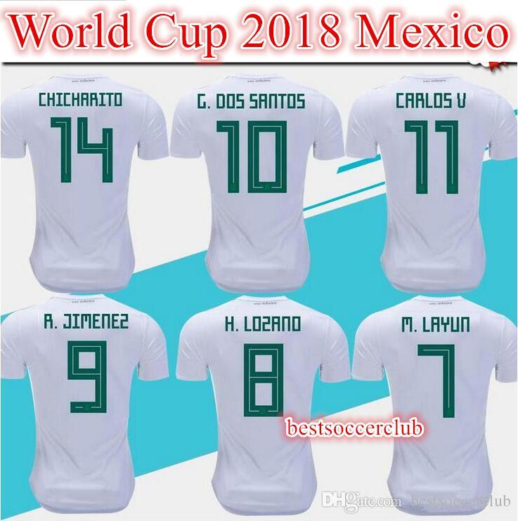 32331c687ef 2019 New 2018 Mexico Soccer Jerseys Home 18 19 Green Away White CHICHARITO  Camisetas De Futbol H.LOZANO G.DOS SANTOS A.GUARDADO Football Jersey From  ...