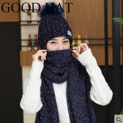 Hat And Scarf Women Winter Long Knit Fur Scarf Hat Winter Cashmere ... 65e838e48ee