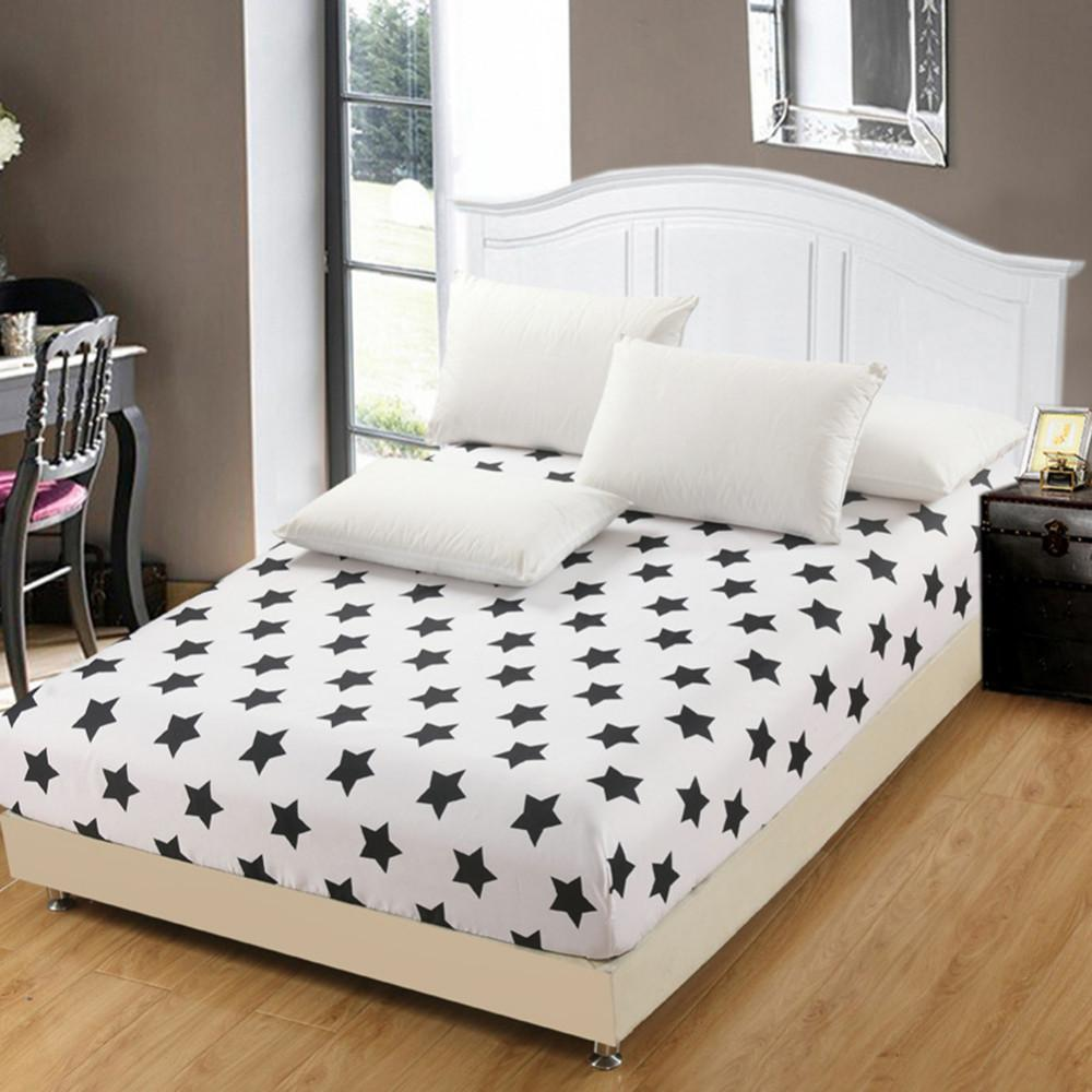 Cheap White Black Star Fitted Sheet Bedsheet Bedroom Polyester Cotton Bed Sheet 150x200cm 180x200cm Bedspread Home Textile Burlap Dust Ruffle Matelasse