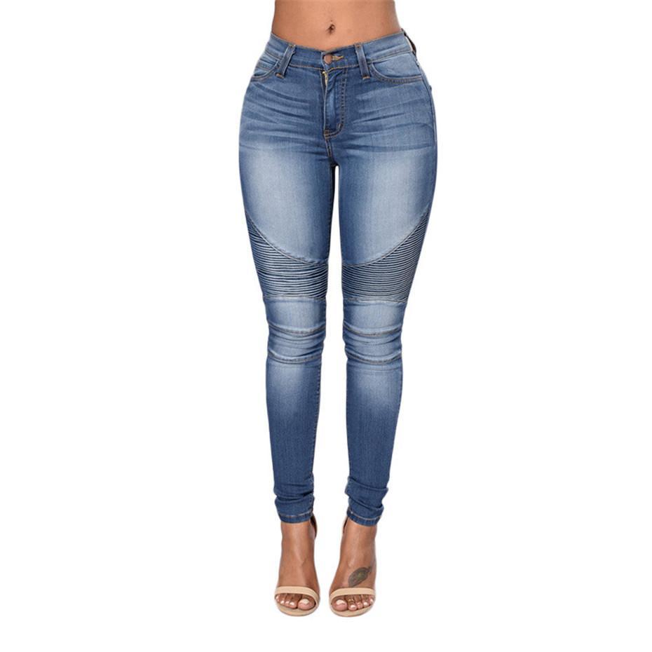 Schlank Stretch Zerrissene Jeans Frauen Elastizität Haut Hohe Taille Jean Schwarz Blau Damen Loch Jeans Bleistift Denim Hose
