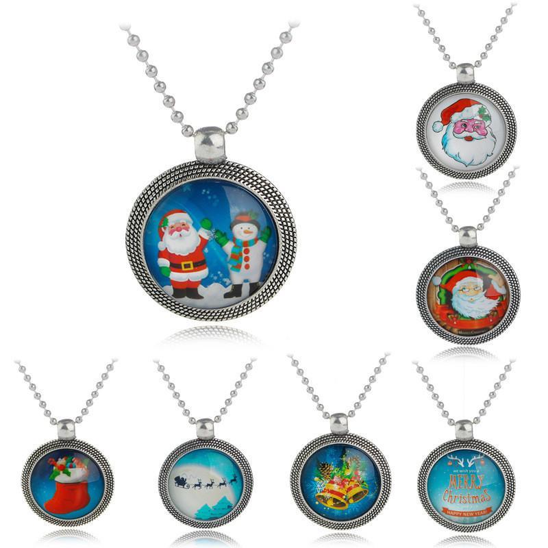 Рождество Ювелирные Изделия Ожерелье Рождественская Елка Санта-Клаус Сани Загрузки Снеговик Кулон Ожерелья Для Счастливого Рождества Подарок