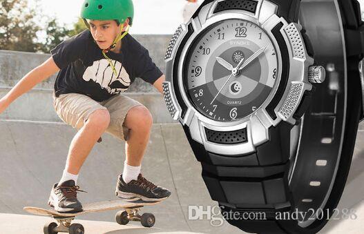 Оптовая Synoke PU ремешок дети водонепроницаемый 50 м спортивные часы студенты кварцевые часы 9608