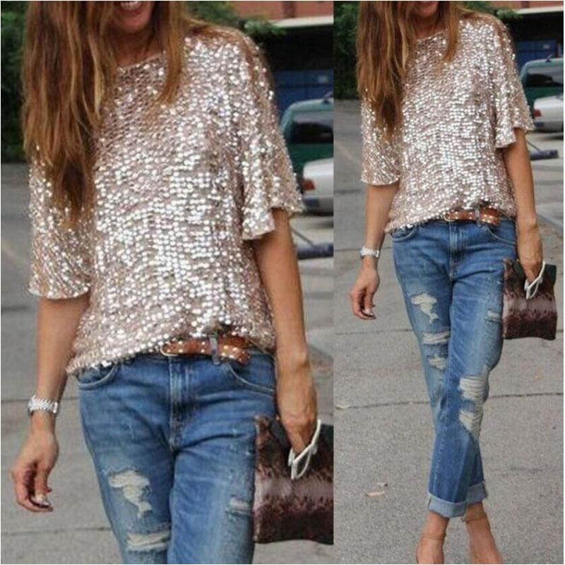 Casuales Tops Lentejuelas Moda Vintage Blusas Party Mujer Glitter Hombro Sexy Suelta Camisas Streetwear Verano CxoedBr