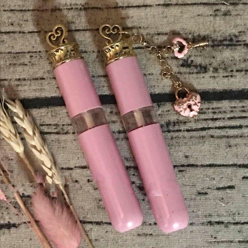 Rosa elegante vacío tubo de brillo de labios, bricolaje plástico elegante lápiz labial botella recargable, herramienta de belleza de labios profesional F049