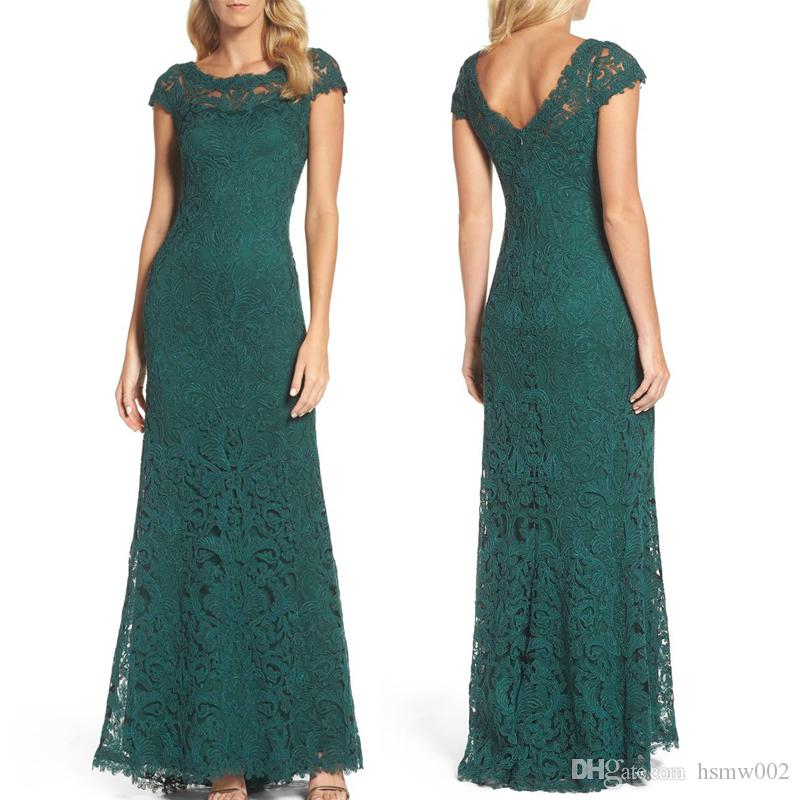 18fb2483 Elegant Sheath Mother Of The Bride Dresses Dark Green Lace With Cap Sleeve  Mother'S Dresses Scoop Neckline Custom Made Plus Size Bridal Mother Dresses  Plus ...