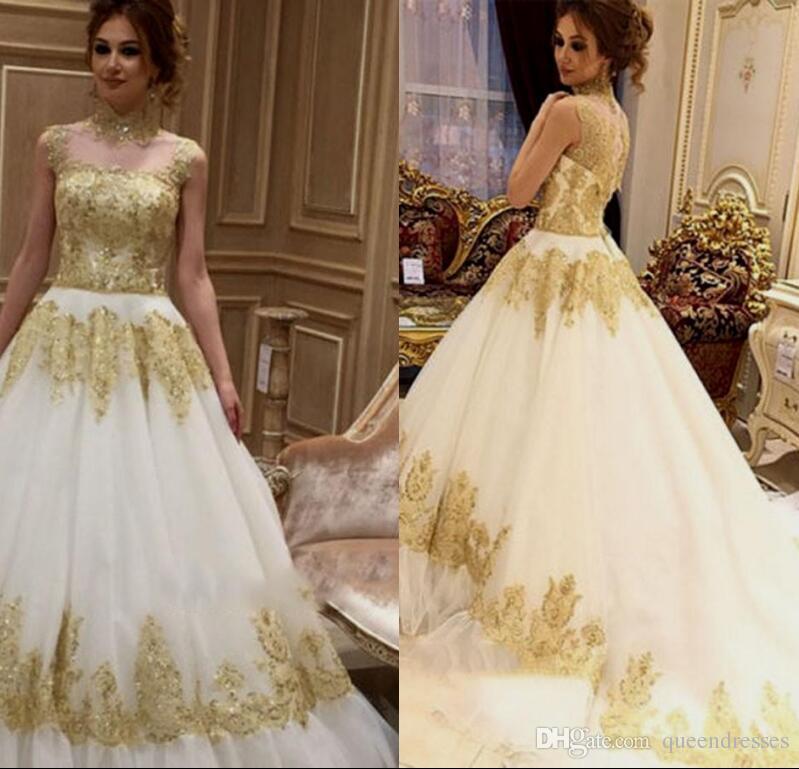 White Wedding Gown Gold: Discount Fashion White Gold Wedding Gowns High Neck Cap