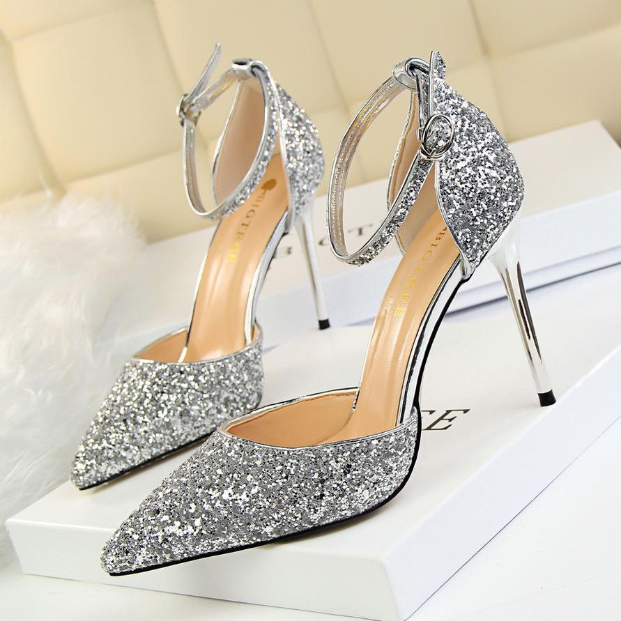 Grosshandel Frauen Pumps Bling High Heels Damen Pumps Glitter High