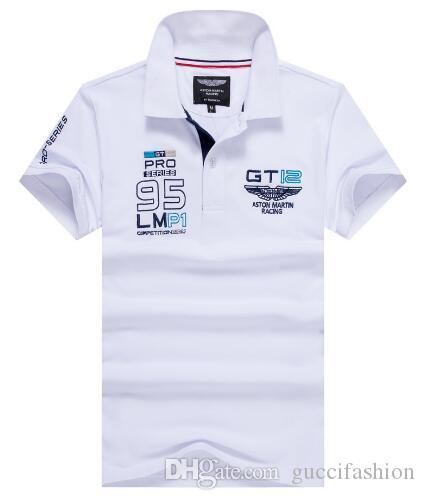 1fc41fcaf9 Compre Homens De Mercado Camisa Polo Camisa Hackett Gt12 Pro Série 95 Polos  Mangas Curtas Aston Martin Corrida De Londres Hkt Camisas Polo Do Esporte  Homme ...