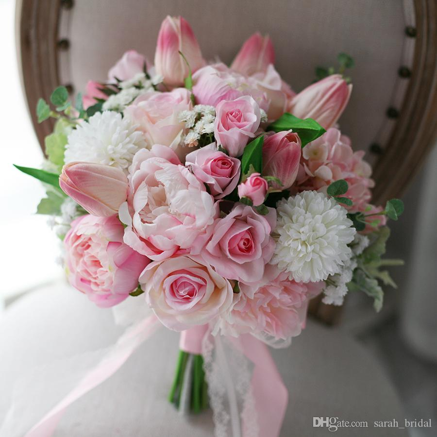 pink flower bouquets for weddings 2 2018 new light pink wedding bridal bouquets hydrangea 6580