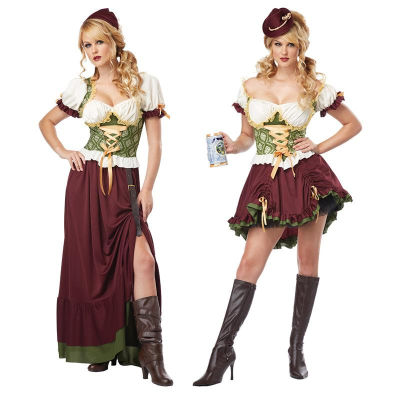 2 styles german oktoberfest bavarian dirndl dress maid. Black Bedroom Furniture Sets. Home Design Ideas