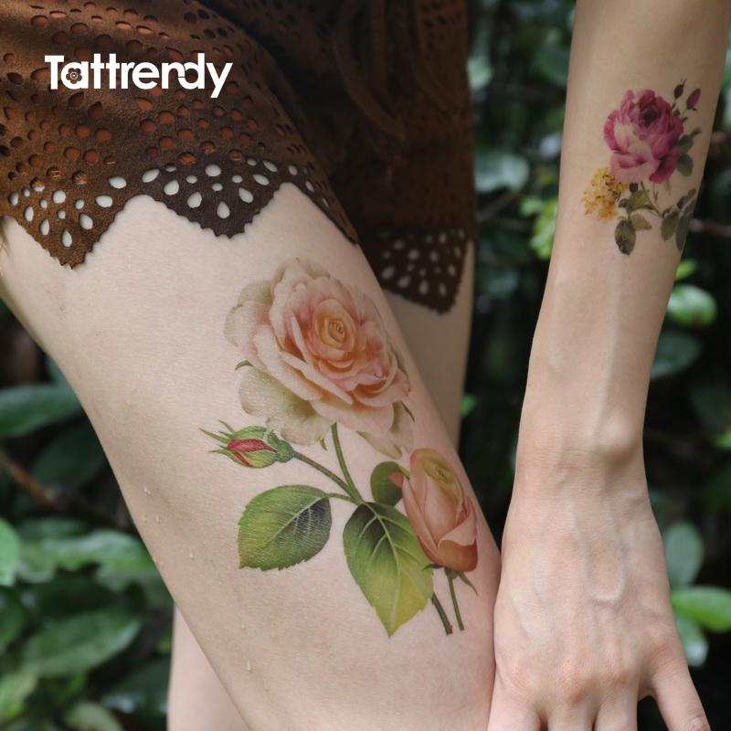 Grosshandel Sexy Frauen Korper Bein Kunst Tattoo Rose Blume Arm Tatoo