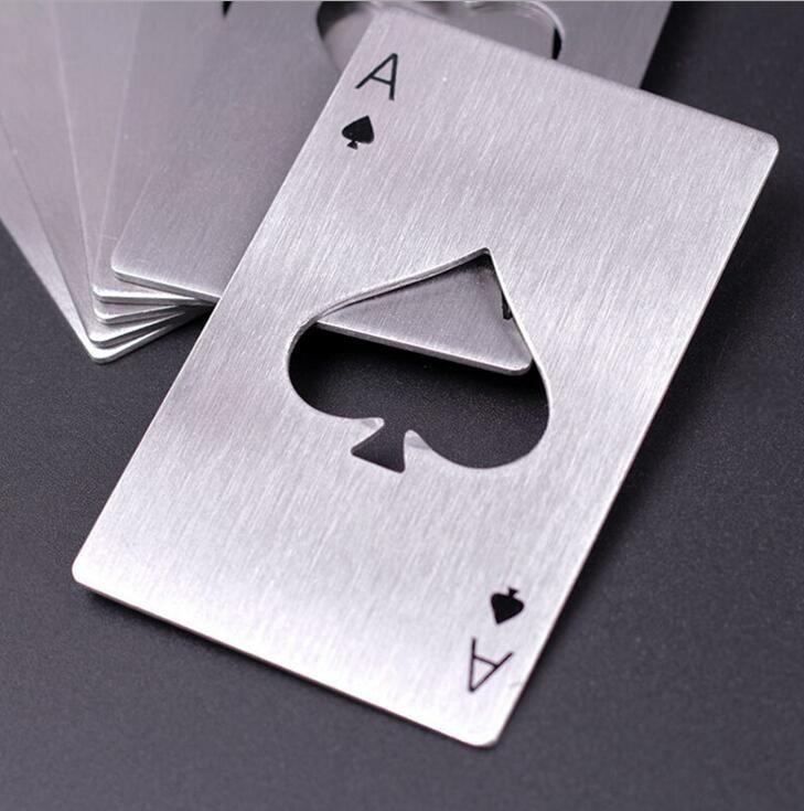 Ouvre-bouteille de poker Carte à jouer en acier inoxydable Ouvre-bières Bar Outils Carte de crédit En métal Bouteille de bière Soda Ouvre-bouteille Cadeaux Cuisine Outils de cuisine NN