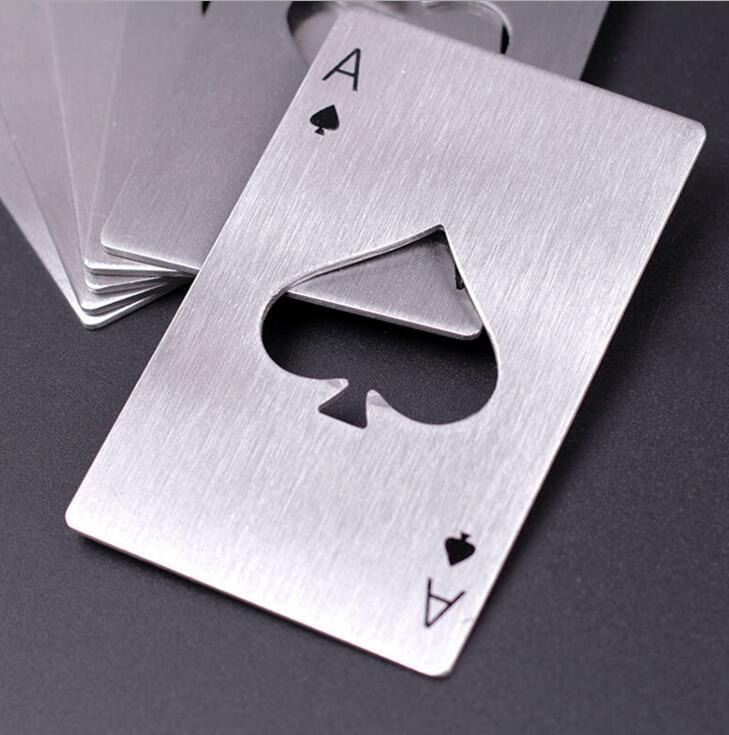 Poker Şişe Açacağı Oyun Kartı Paslanmaz Çelik Bira Açacakları Bar Araçları Kredi Kartı Metal Soda Bira Şişe Kapağı Açacağı Hediyeler Mutfak Aletleri NN