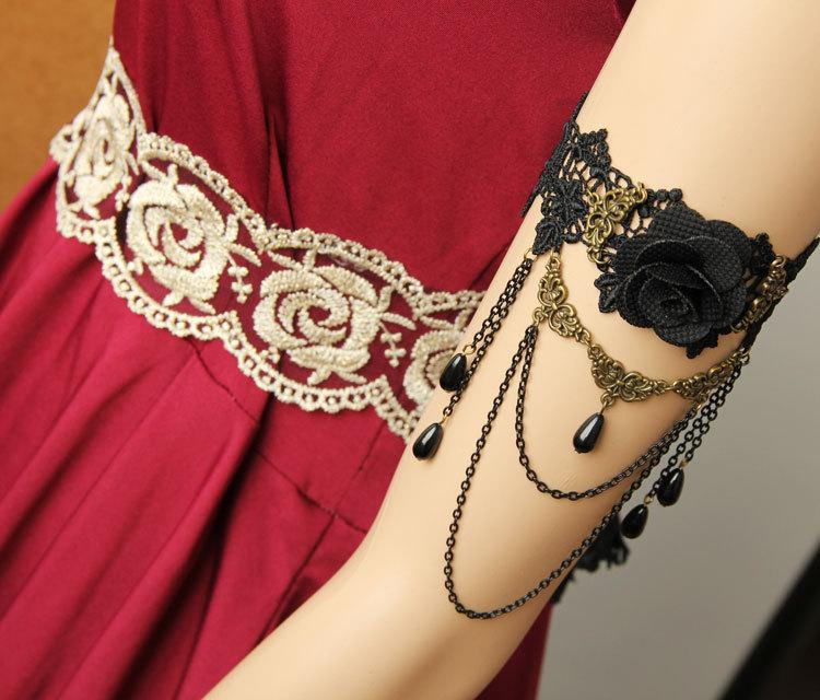 Vintage Chain Upper Arm Bangle Bracelet Womens Jewelry Wedding Party Accessories Craft Italian Black Lace Bracelets Brand AT-38