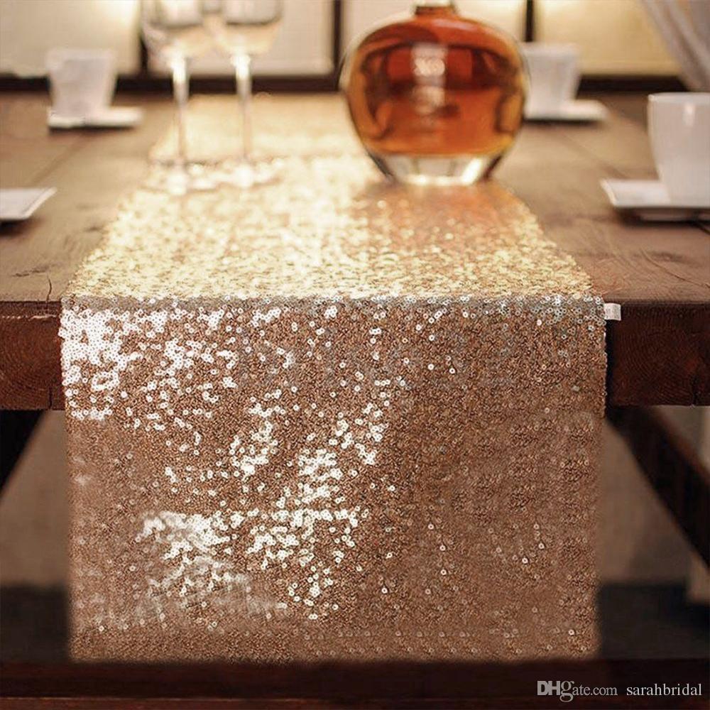 Paño de tabla Cubierta de tabla cuadrada larga para el banquete de boda Decoración Mesas lentejuelas Ropa de mesa Mantel de la boda Textiles para el hogar
