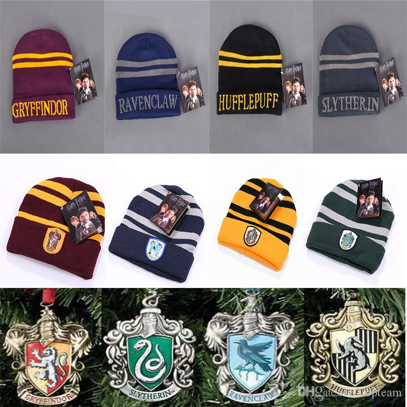 8Style Harry Potter Hogwarts Beanie Hat Gryffindor Hufflepuff Ravenclaw Cap  Warm Wool Knit Hat Cosplay School Striped Badge Hats TC181026 Birthday Hat  ... c0e8dd748e9b