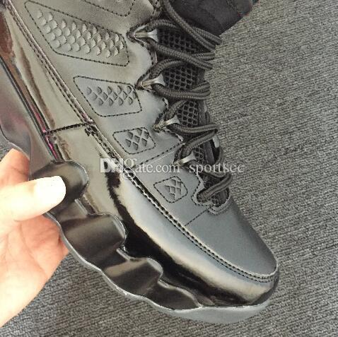 Sneakers frete grátis 9 Bred tênis de basquete dos homens Preto / Antracite-University Red 9s