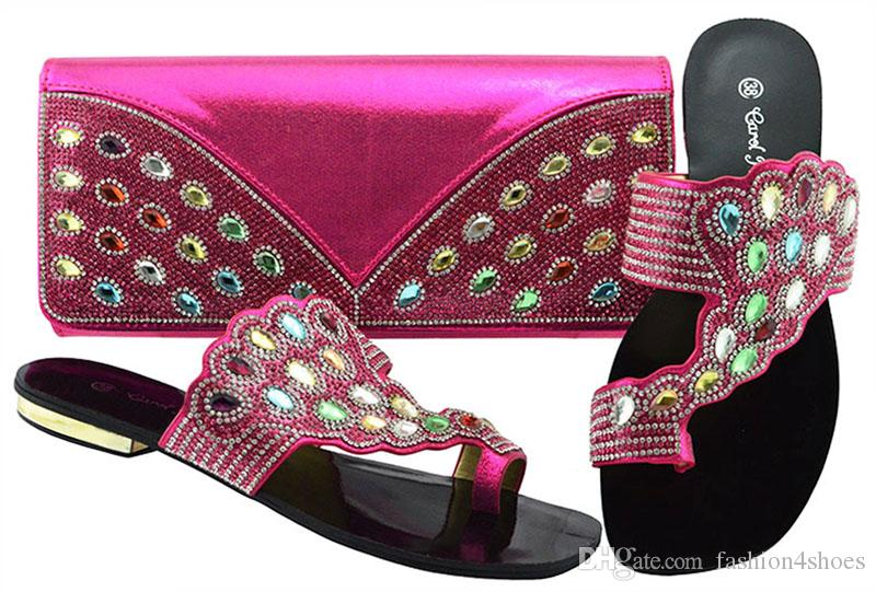New Fuchsia Color Italian Shoes With Matching Bags African Women Shoes And Bags  Set For Prom Party Summer Sandal Wholesale Italian Shoes And Bag High Heels  ... b9c4bd437fad