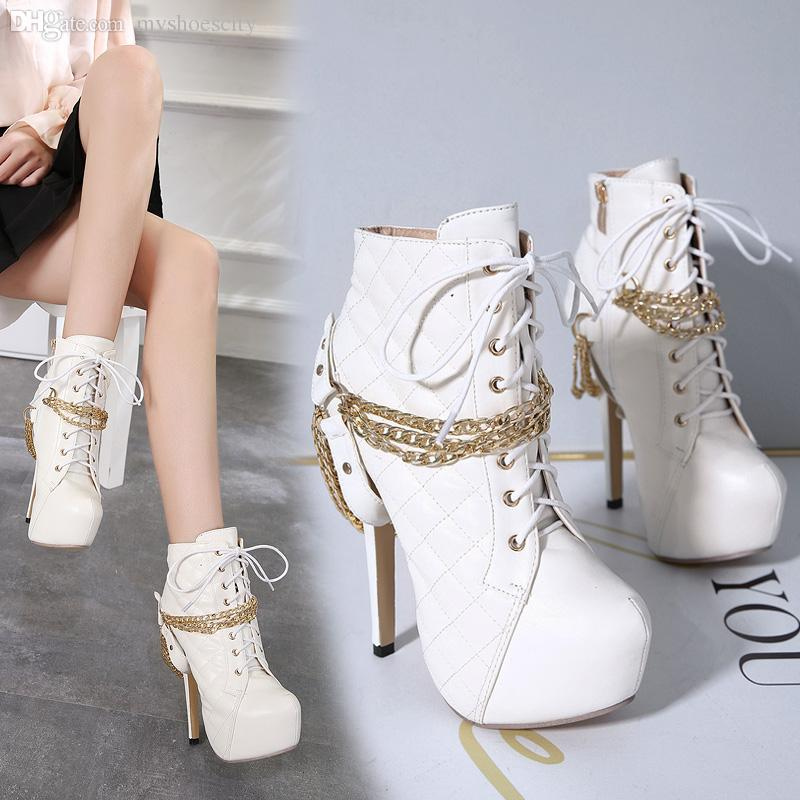 14cm Sexy gold chain grid design platform high heels martin boots women shoes size 35 to 40