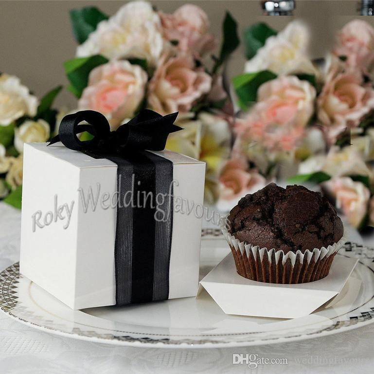 9X9X9CM Square White Cupcake Boxes Wedding Favors Holder Cupcake Package Party Sweet Boxes