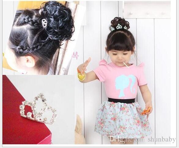 Mini Cute Crystal Rhinestone Princess Crown Hair Comb Birthday Party Tiaras For Girls Kids Hair Jewelry Accessories
