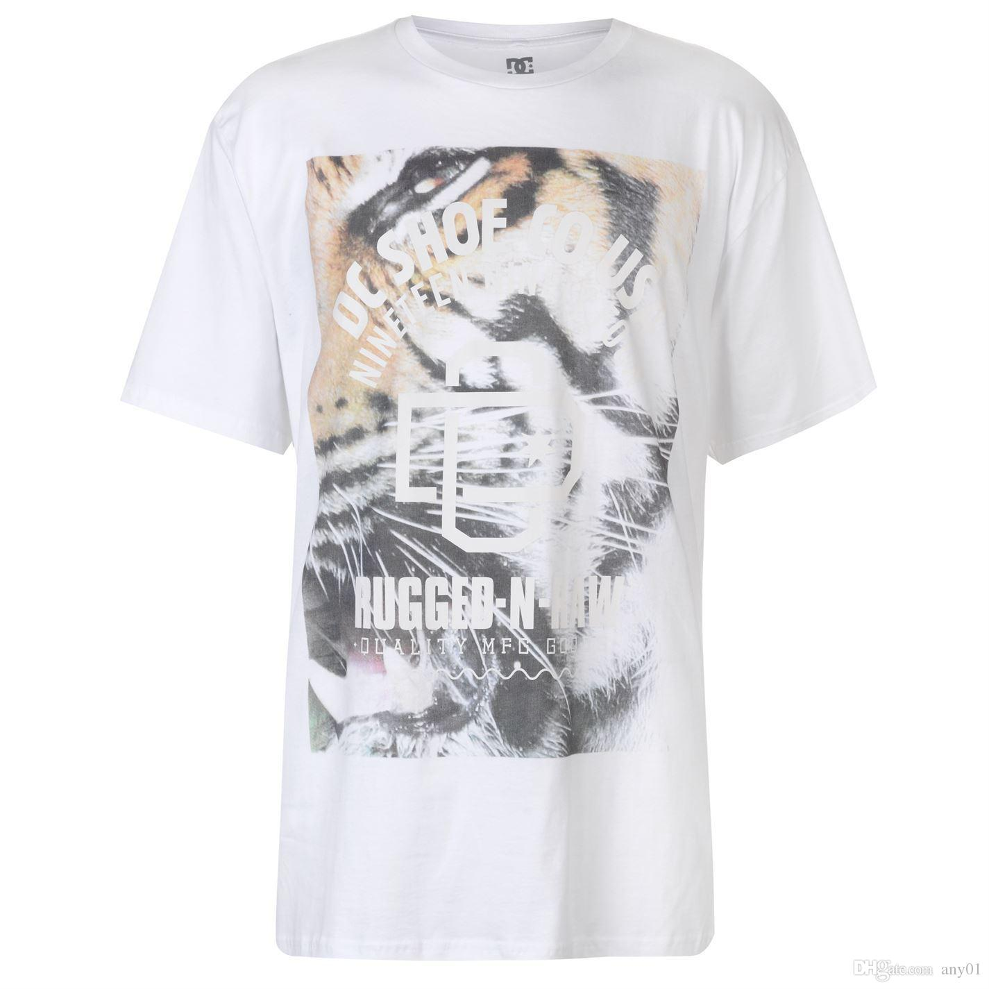 dd6fa244 DC Shoe Co USA Tiger T Shirt Mens White Tee Shirt Tshirt Top Cool Tee  Designs Tees Shirts Cheap From Any01, $13.19| DHgate.Com
