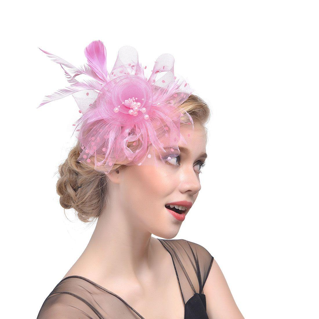 0e7cf75b Feathers Tulle Pearls Wedding Hair Accessories Bridal Hats Flora Elegant  Women's Party Hats sombreros de boda