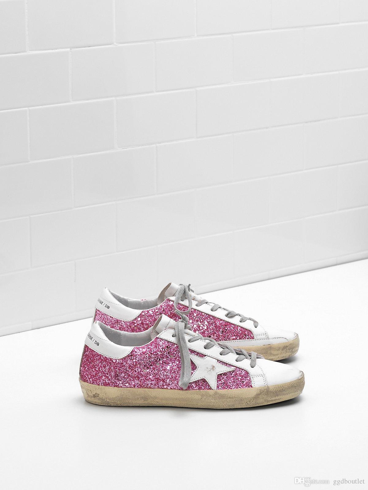 6f6e73f950 Acquista Sneakers Superstar In Vera Pelle Da Uomo E Donna Flag Ltd Tomaia  In Alto In Tessuto Con Glitter E Tacco E Occhielli In Pelle Di Vitello  Naturale ...