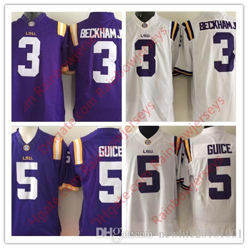 7e0b1040e 2019 NCAA LSU Tigers  3 Odell Beckham Jr.  5 Derrius Guice College Football  Jerseys Purple White Stitched SEC Game Jerseys S 3XL From Newlife20161001