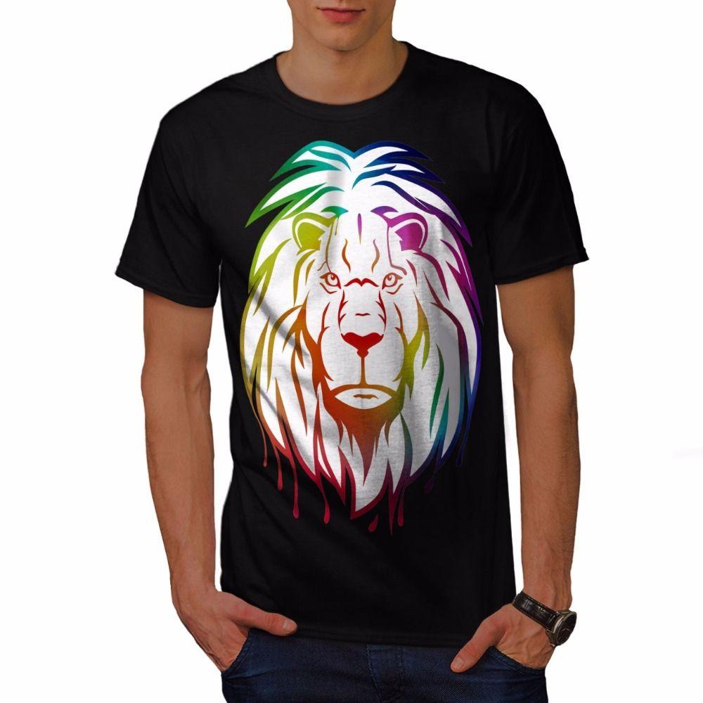 1b59549b3 Compre Camisas Dos Homens Online Leão Colorido Arte Animal Dos Homens T  Shirt S Para 3XL Novo O Pescoço Curto 100% Algodão Tee De I365inlove