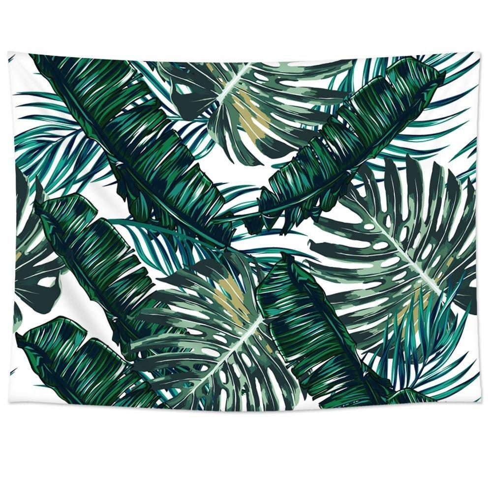 charmhome palm tree leaves pattern tapestry hanging polyester fabric