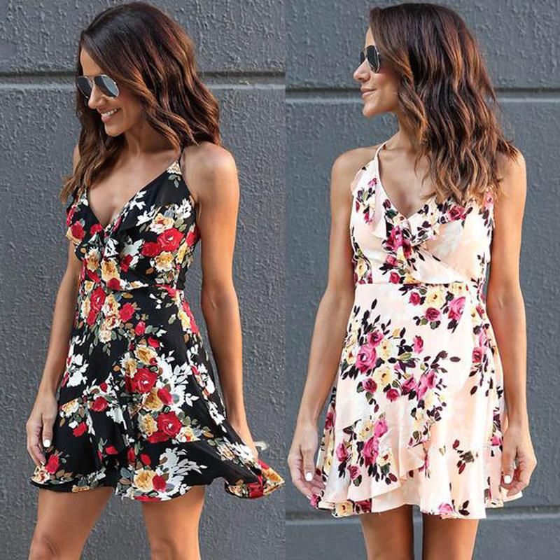 534391530d66 Frauen Damen Boho Süßes Sommerkleid Rüschen Blumendruck Ärmellos  V-Ausschnitt Hohe Taille Minikleid Sommerkleid