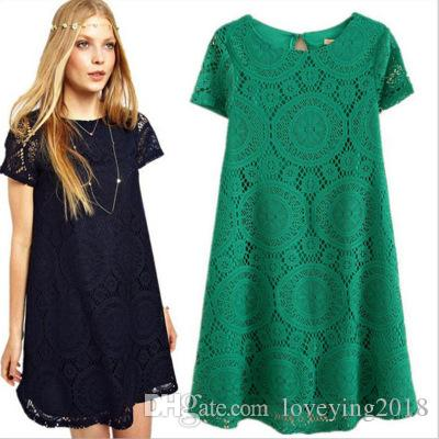 5846ee4fb2 New Sexy Women Summer Casual Lace Short Sleeve Cocktail Women Plus ...