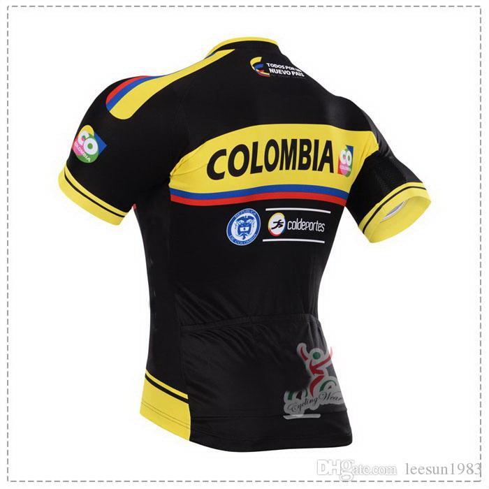 2015 فريق COLOMBIA PRO YELLOW BLACK C22 شورت كم قصير قميص جيرسي SUMMER CYCLING WEAR ROPA CICLISMO + SHORTS GEL PAD SET SIZE: XS-4XL