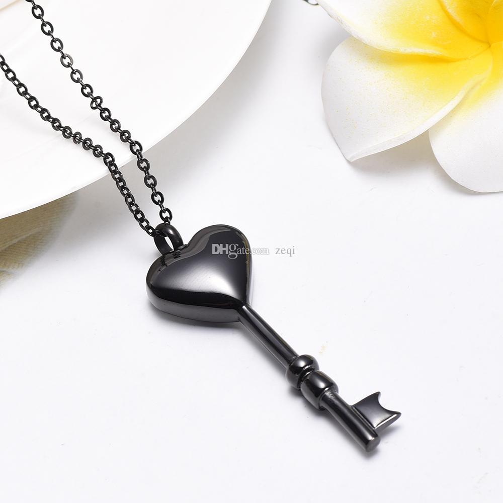 Stainless steel heart key shape Memorial Urn Necklace Pet/Human Ashes Funeral Urn Necklace Ash Locket Cremation Jewelry