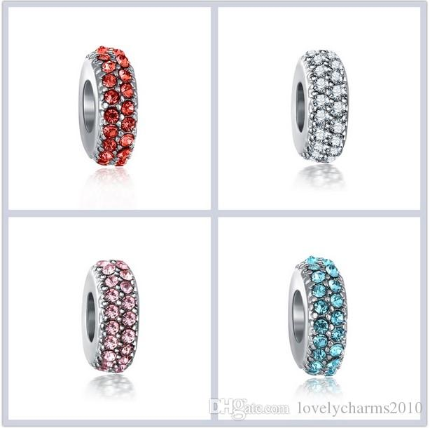 Fits Pandora Bracelets Rhinestone Crystal Silver Charms Bead Spacer Charm Beads For Wholesale Diy European Sterling Necklace Jewelry Making
