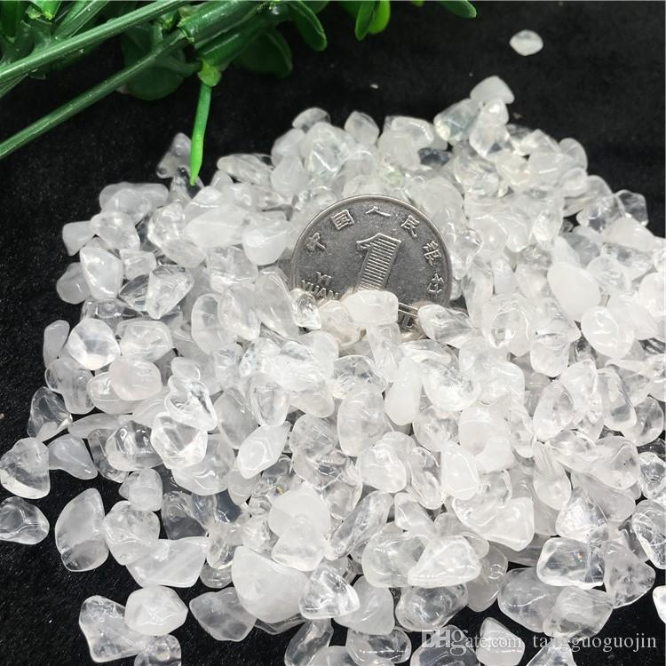 wholesale 50g Natura White crystal Stone Rock Chips Specimen Lucky crystal love natural stones and minerals Fish Tank stone